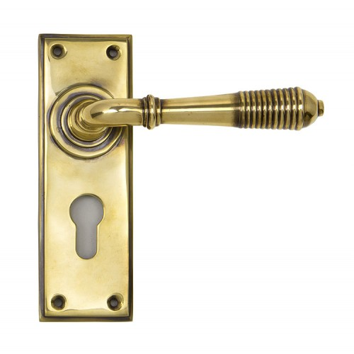 From the Anvil Reeded Lever Euro Lock Set