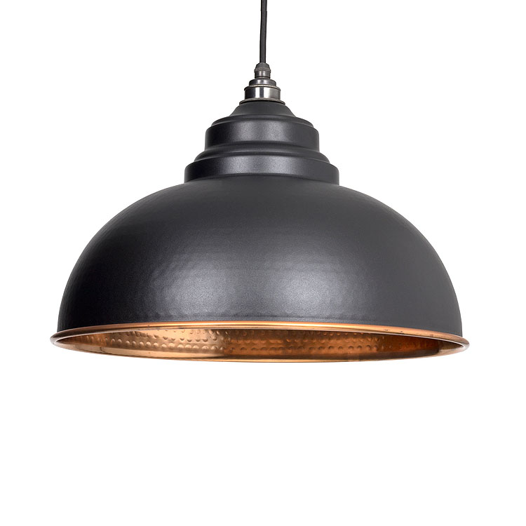 From the anvil harborne pendant hammered copper ceiling light from the anvil 49501b harborne pendant hammered copper ceiling light in black hammered copper finish aloadofball Image collections