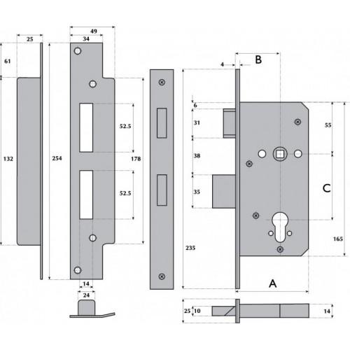 Bristish Standard Euro Profile Cylinder Heavy Duty Mortice Sashlock - G7020