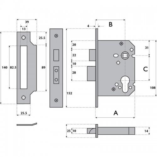 Euro Profile Cylinder Mortice Sashlock - Y7000