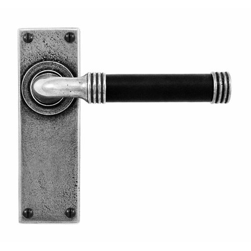 Finesse Design Jarrow Range Latch Door Handle on a Back Plate in Pewter