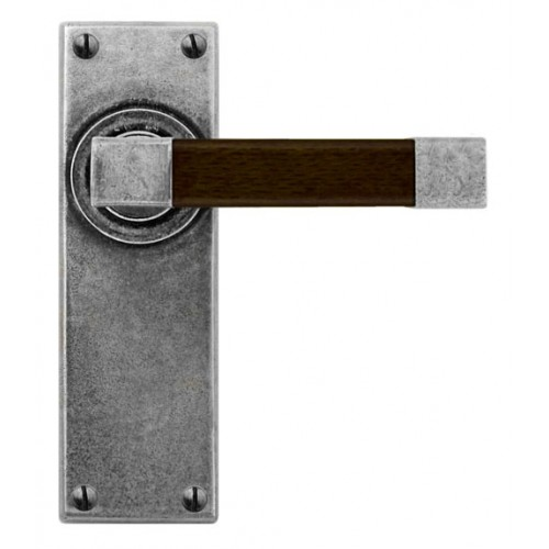 Finesse Design Eden Range Latch Door Handle on a Back Plate in Pewter