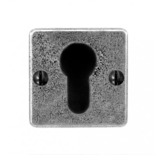 Finesse Design Square Euro Keyhole Escutcheon (Jesmond) in Pewter