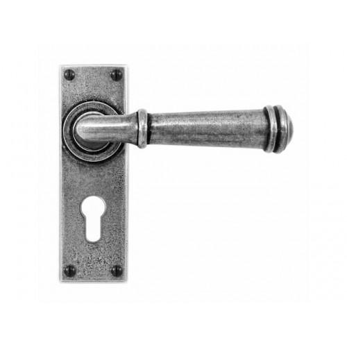 Finesse Design Durham Range Door Handle on a Back Plate Euro Lock Set in Pewter