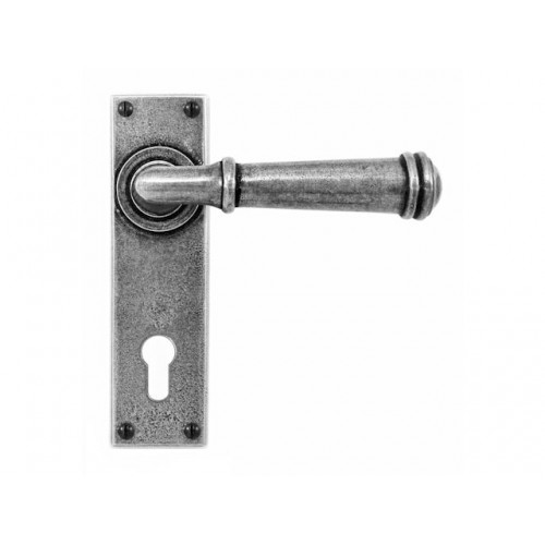 Finesse Design Durham Range Door Handle on a Long Back Plate Euro Lock Set in Pewter