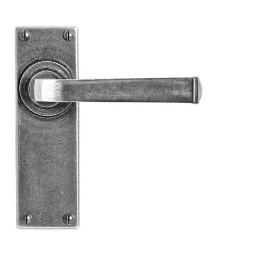 Finesse Design Allendale Range Latch Door Handle on a Back Plate in Pewter