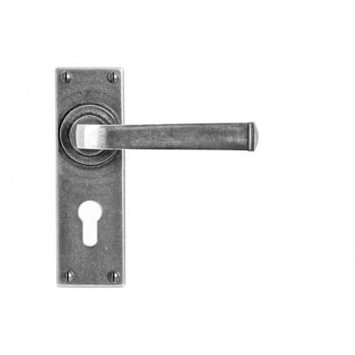 Finesse Design Allendale Range Euro Lock Door Handle on a Backplate Set in Pewter