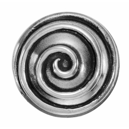 Finesse Design Swirl Range Door Knob on a Round Rose in Pewter