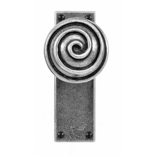 Finesse Design Swirl Range Door Knob on a Latch Back Plate in Pewter