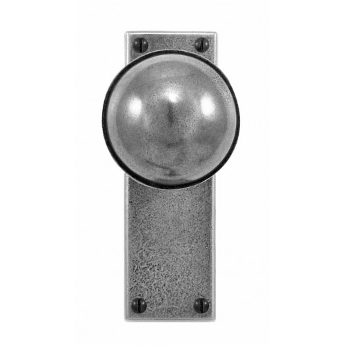 Finesse Design Beamish Range Door Knob on a Latch Back Plate in Pewter