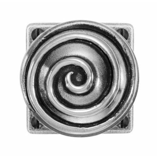 Finesse Design Swirl Range Door Knob on a Square Jesmond Rose in Pewter
