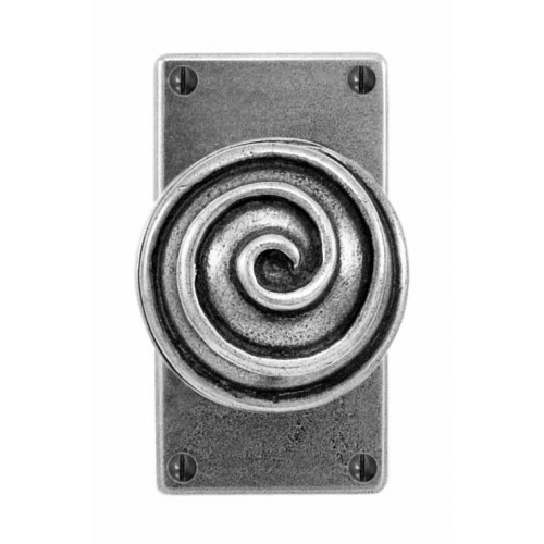 Finesse Design Swirl Range Door Knob on a Jesmond Short Back Plate in Pewter