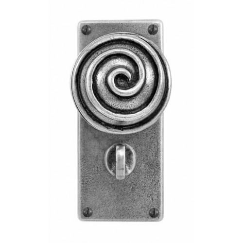Finesse Design Swirl Range Door Knob on a Jesmond Bathroom Back Plate in Pewter