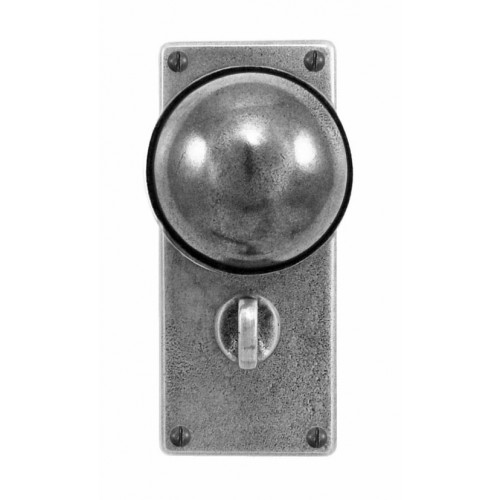 Finesse Design Beamish Range Door Knob on a Jesmond Bathroom Back Plate in Pewter