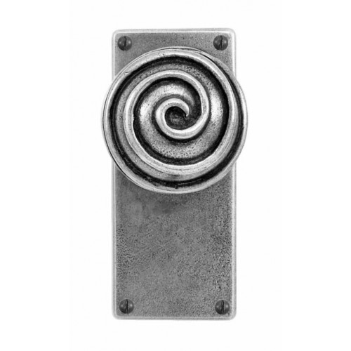 Finesse Design Swirl Range Door Knob on a Jesmond Back Plate in Pewter
