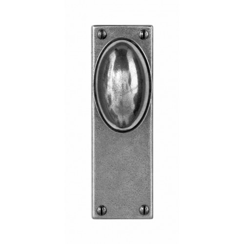 Finesse Design Lincoln Range Door Knob on a Back Plate in Pewter