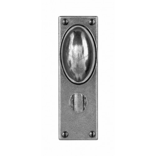 Finesse Design Lincoln Range Door Knob on a Bathroom Back Plate in Pewter