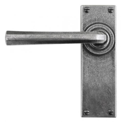 Finesse Design Tunstall Range Latch Door Handle on a Back Plate in Pewter