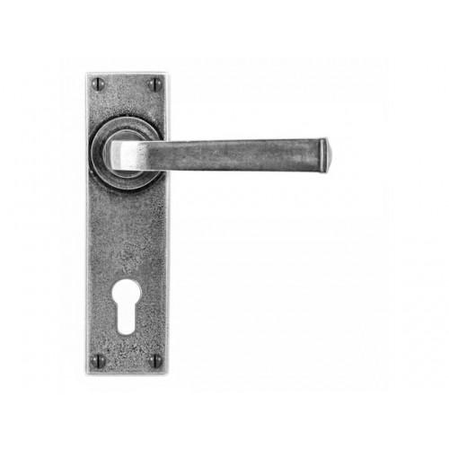 Finesse Design Allendale Range Euro Lock Long Door Handle on a Backplate Set in Pewter