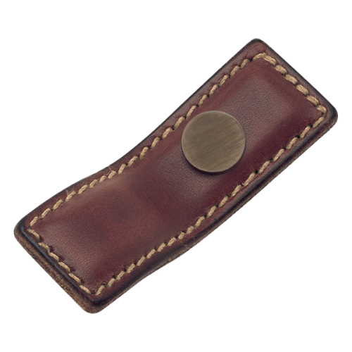 Turnstyle Designs Leather Brass Framed Tab Handle