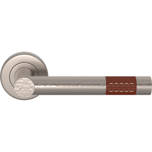 Turnstyle Design HR1023 Recess Leather Hammered Barrel Short Door Handle